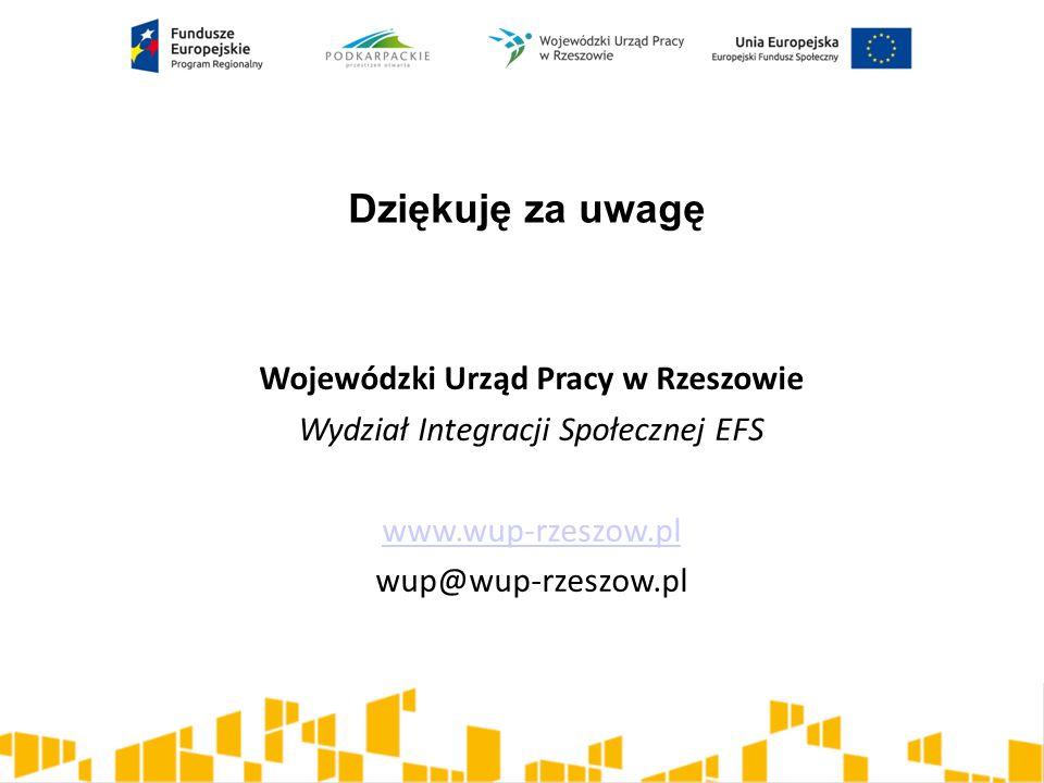 Dziękuję za uwagę Wojewódzki Urząd Pracy w Rzeszowie Wydział Integracji Społecznej EFS www.wup-rzeszow.pl wup@wup-rzeszow.pl