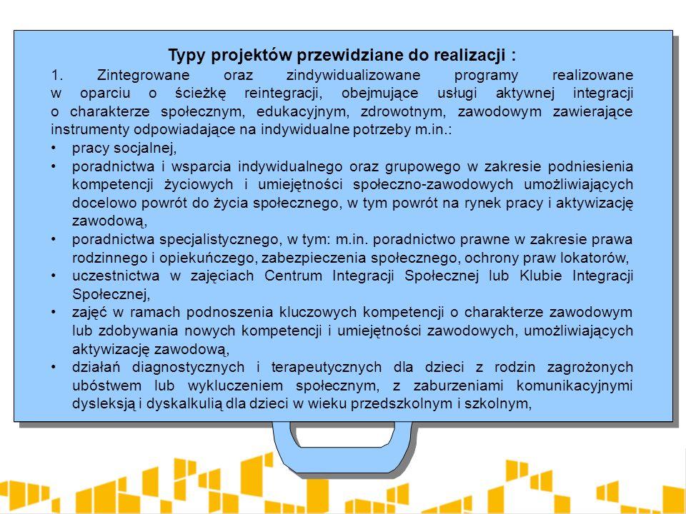Typy projektów przewidziane do realizacji cd.: b) pomocy w opiece i wychowaniu dzieci w placówkach wsparcia dziennego poprzez tworzenie nowych placówek wsparcia dziennego jak również wspieranie istniejących placówek w formie : opiekuńczej, w tym kół zainteresowań, świetlic, klubów i ognisk wychowawczych, specjalistycznej, w szczególności organizującej zajęcia socjoterapeutyczne, terapeutyczne, korekcyjne, kompensacyjne oraz logopedyczne, realizującej indywidualny program korekcyjny, program psychokorekcyjny lub psychoprofilaktyczny, w szczególności terapię pedagogiczną, psychologiczną i socjoterapie, pracy podwórkowej realizowanej przez wychowawcę, realizującej działania animacyjne i socjoterapeutyczne, Typy projektów przewidziane do realizacji cd.: b) pomocy w opiece i wychowaniu dzieci w placówkach wsparcia dziennego poprzez tworzenie nowych placówek wsparcia dziennego jak również wspieranie istniejących placówek w formie : opiekuńczej, w tym kół zainteresowań, świetlic, klubów i ognisk wychowawczych, specjalistycznej, w szczególności organizującej zajęcia socjoterapeutyczne, terapeutyczne, korekcyjne, kompensacyjne oraz logopedyczne, realizującej indywidualny program korekcyjny, program psychokorekcyjny lub psychoprofilaktyczny, w szczególności terapię pedagogiczną, psychologiczną i socjoterapie, pracy podwórkowej realizowanej przez wychowawcę, realizującej działania animacyjne i socjoterapeutyczne,