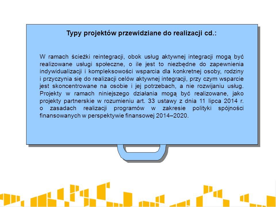 Typy projektów przewidziane do realizacji cd.: 4.