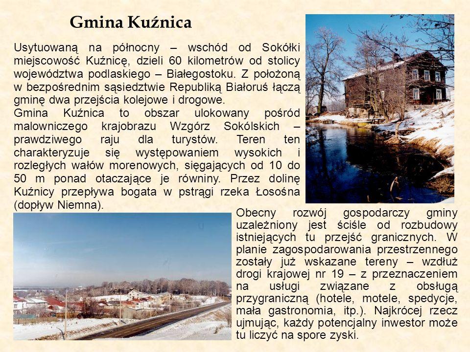 Gmina Kuźnica Usytuowaną na północny – wschód od Sokółki miejscowość Kuźnicę, dzieli 60 kilometrów od stolicy województwa podlaskiego – Białegostoku.