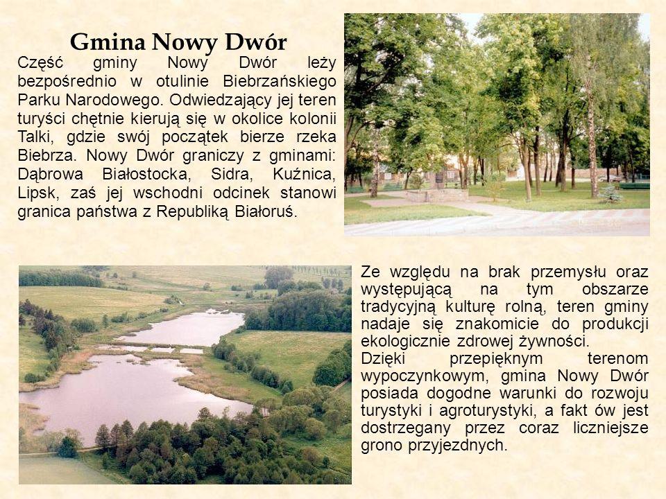 Gmina Nowy Dwór Część gminy Nowy Dwór leży bezpośrednio w otulinie Biebrzańskiego Parku Narodowego. Odwiedzający jej teren turyści chętnie kierują się