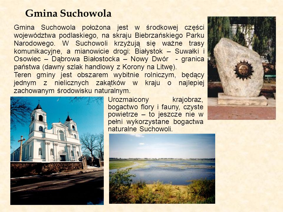 Gmina Suchowola Gmina Suchowola położona jest w środkowej części województwa podlaskiego, na skraju Biebrzańskiego Parku Narodowego. W Suchowoli krzyż