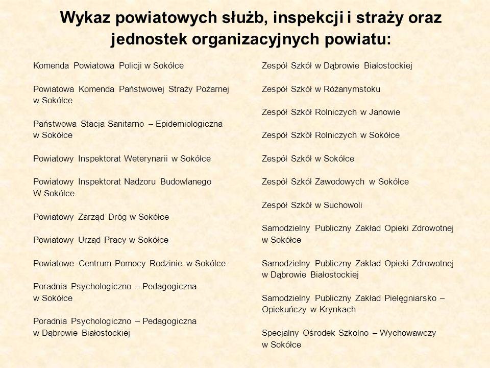 Wykaz powiatowych służb, inspekcji i straży oraz jednostek organizacyjnych powiatu: Komenda Powiatowa Policji w Sokółce Powiatowa Komenda Państwowej S