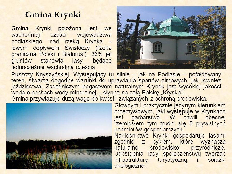 Gmina Krynki Gmina Krynki położona jest we wschodniej części województwa podlaskiego, nad rzeką Krynką – lewym dopływem Świsłoczy (rzeka graniczna Pol