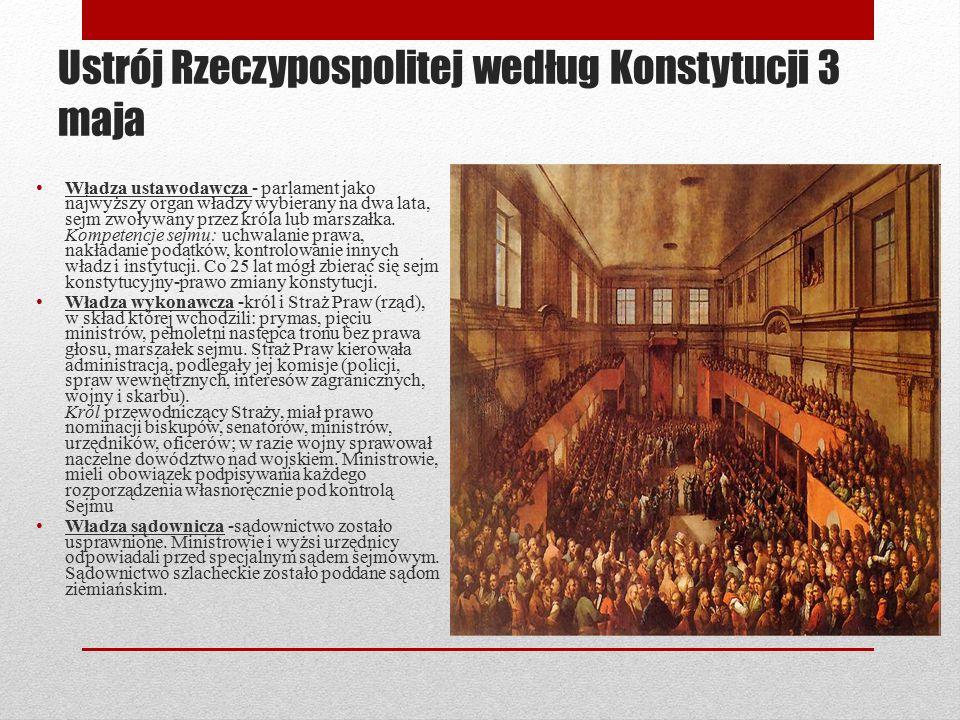 Ustrój Rzeczypospolitej według Konstytucji 3 maja Władza ustawodawcza - parlament jako najwyższy organ władzy wybierany na dwa lata, sejm zwoływany pr