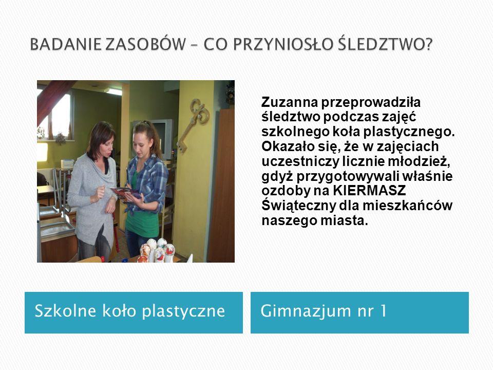 Szkolne koło plastyczneGimnazjum nr 1 Zuzanna przeprowadziła śledztwo podczas zajęć szkolnego koła plastycznego.