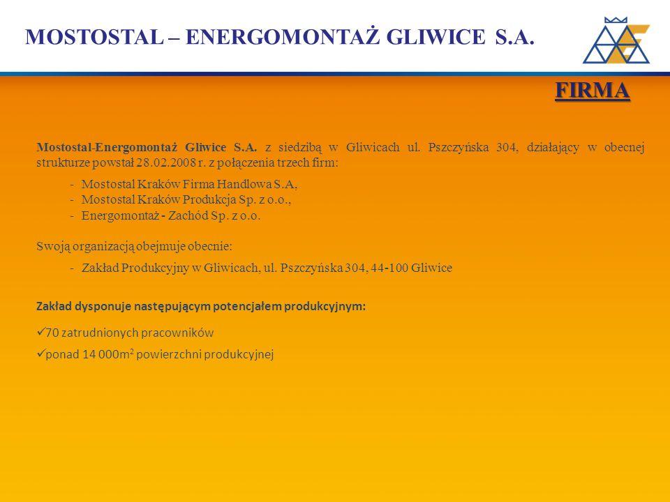 FIRMA Mostostal-Energomontaż Gliwice S.A. z siedzibą w Gliwicach ul. Pszczyńska 304, działający w obecnej strukturze powstał 28.02.2008 r. z połączeni