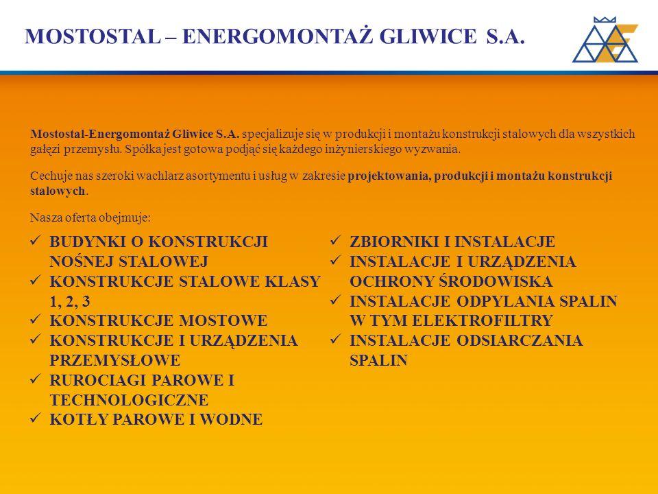 MOSTOSTAL – ENERGOMONTAŻ GLIWICE S.A. Mostostal-Energomontaż Gliwice S.A. specjalizuje się w produkcji i montażu konstrukcji stalowych dla wszystkich