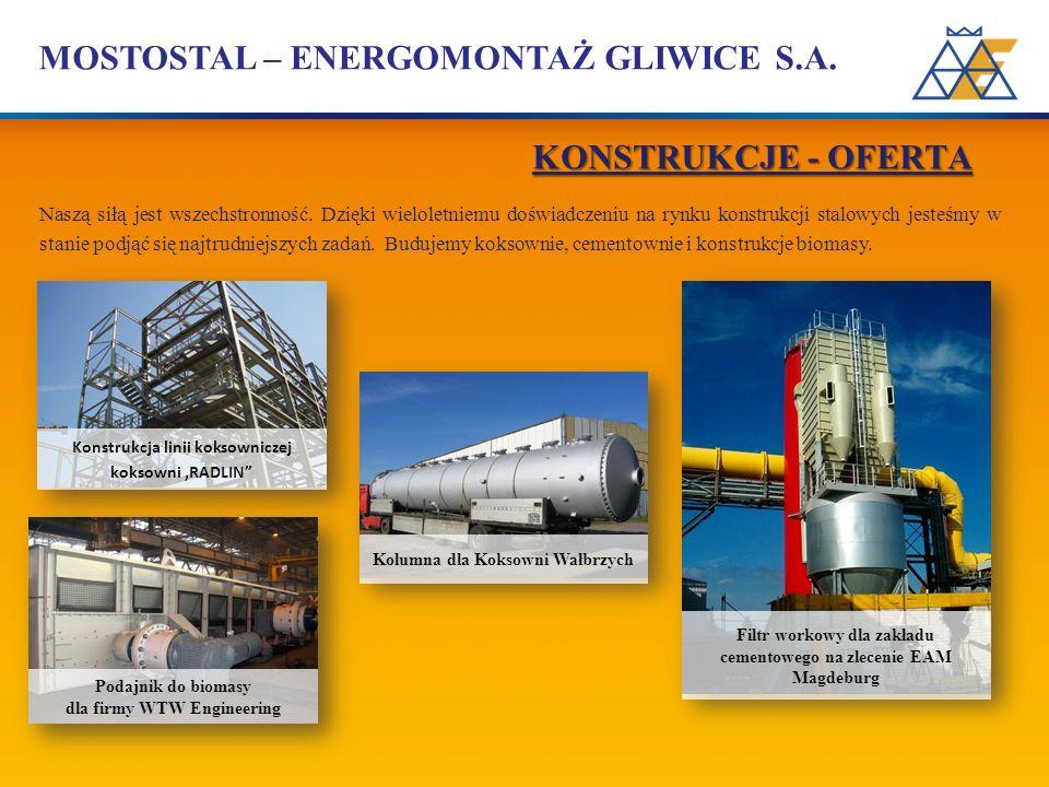 MOSTOSTAL – ENERGOMONTAŻ GLIWICE S.A. Naszą siłą jest wszechstronność. Dzięki wieloletniemu doświadczeniu na rynku konstrukcji stalowych jesteśmy w st