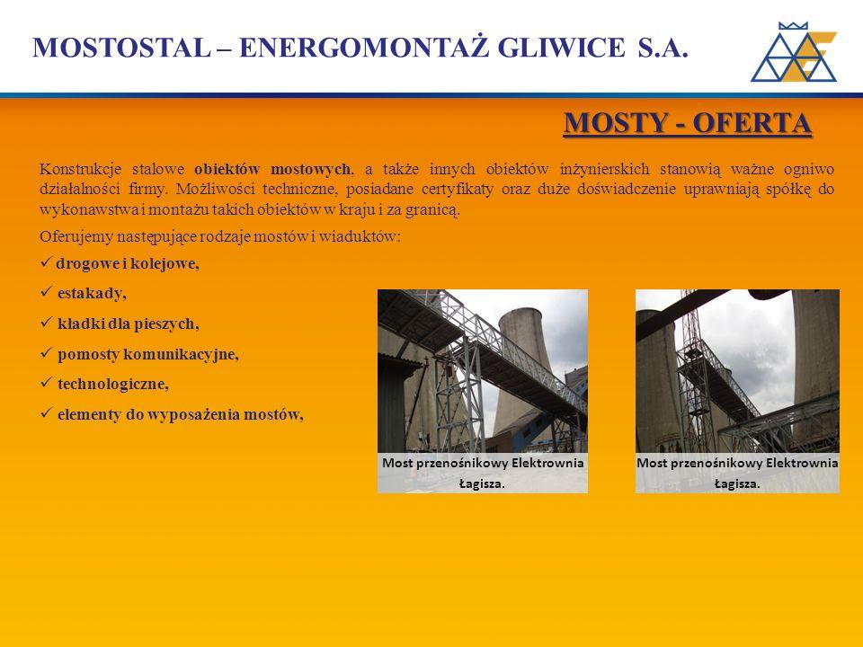 MOSTOSTAL – ENERGOMONTAŻ GLIWICE S.A. Konstrukcje stalowe obiektów mostowych, a także innych obiektów inżynierskich stanowią ważne ogniwo działalności