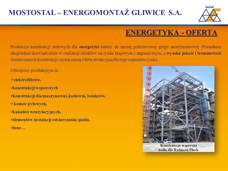 MOSTOSTAL – ENERGOMONTAŻ GLIWICE S.A. Produkcja konstrukcji stalowych dla energetyki należy do naszej podstawowej grupy asortymentowej. Posiadamy dług