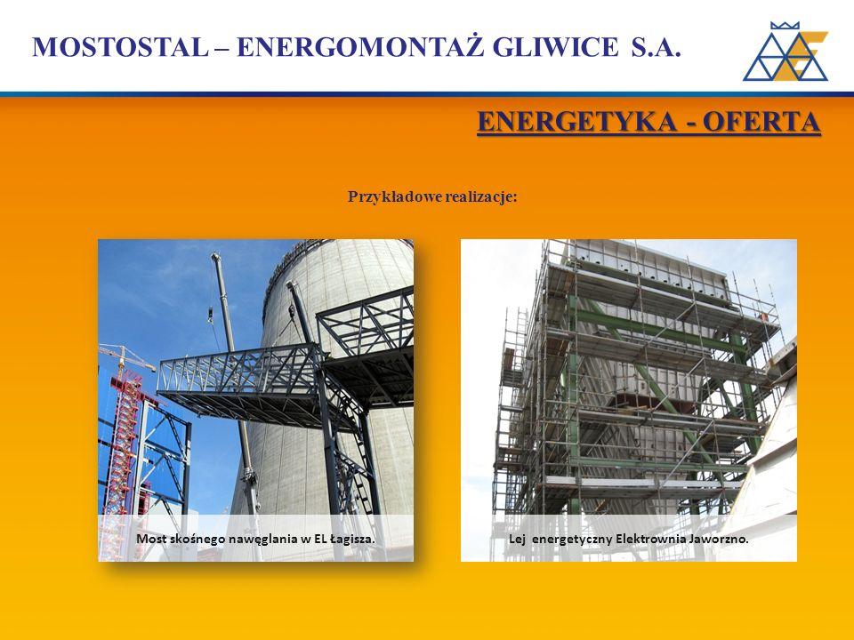 MOSTOSTAL – ENERGOMONTAŻ GLIWICE S.A. Przykładowe realizacje: Most skośnego nawęglania w EL Łagisza. Lej energetyczny Elektrownia Jaworzno. ENERGETYKA