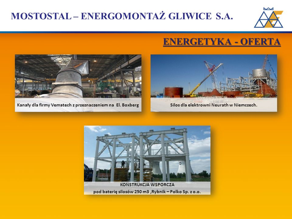 MOSTOSTAL – ENERGOMONTAŻ GLIWICE S.A. Kanały dla firmy Vematech z przeznaczeniem na El. Boxberg Silos dla elektrowni Neurath w Niemczech. KONSTRUKCJA