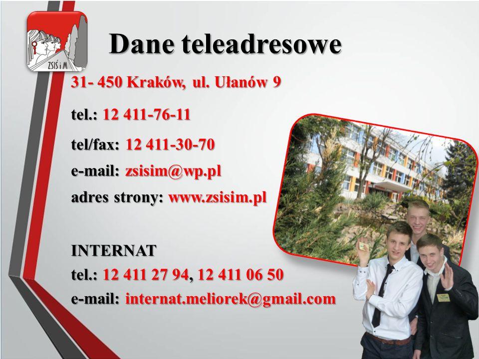 31- 450 Kraków, ul. Ułanów 9 Dane teleadresowe tel.: 12 411-76-11 tel/fax: 12 411-30-70 adres strony: www.zsisim.pl e-mail: zsisim@wp.pl INTERNAT tel.