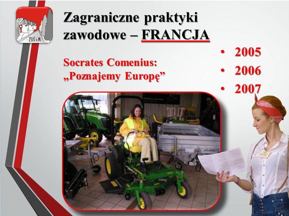 """Zagraniczne praktyki zawodowe – FRANCJA 2005 2005 2006 2006 2007 2007 Socrates Comenius: """"Poznajemy Europę"""""""