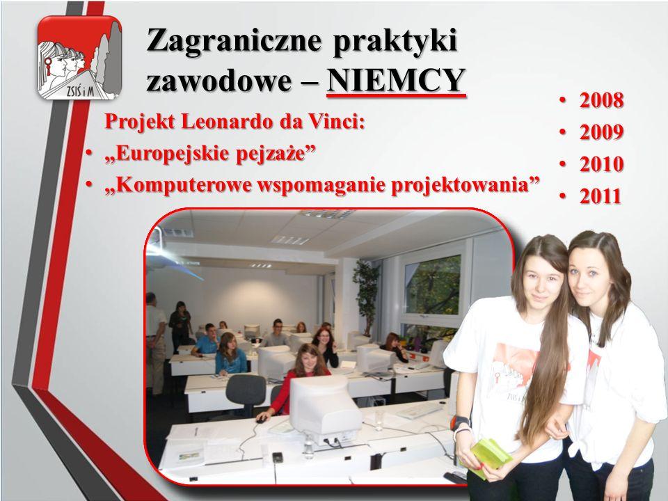 """Zagraniczne praktyki zawodowe – NIEMCY 2008 2008 2009 2009 2010 2010 2011 2011 Projekt Leonardo da Vinci: """"Europejskie pejzaże"""" """"Europejskie pejzaże"""""""