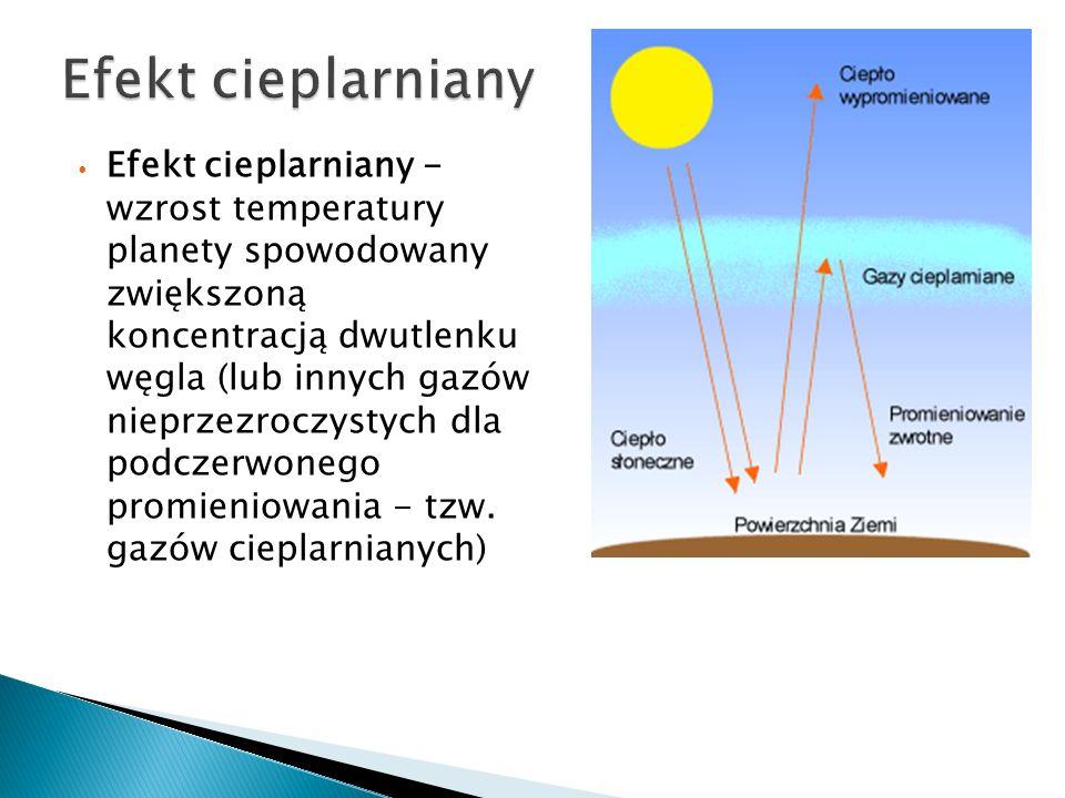 Efekt cieplarniany - wzrost temperatury planety spowodowany zwiększoną koncentracją dwutlenku węgla (lub innych gazów nieprzezroczystych dla podczerwonego promieniowania - tzw.