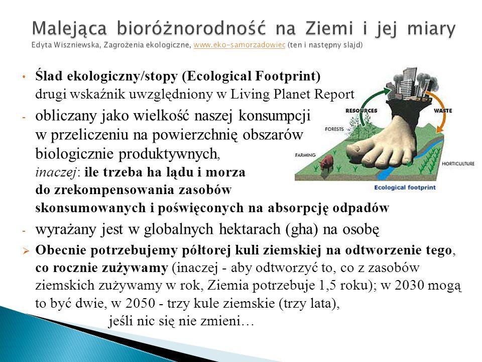 Ślad ekologiczny/stopy (Ecological Footprint) drugi wskaźnik uwzględniony w Living Planet Report - obliczany jako wielkość naszej konsumpcji w przeliczeniu na powierzchnię obszarów biologicznie produktywnych, inaczej: ile trzeba ha lądu i morza do zrekompensowania zasobów skonsumowanych i poświęconych na absorpcję odpadów - wyrażany jest w globalnych hektarach (gha) na osobę  Obecnie potrzebujemy półtorej kuli ziemskiej na odtworzenie tego, co rocznie zużywamy (inaczej - aby odtworzyć to, co z zasobów ziemskich zużywamy w rok, Ziemia potrzebuje 1,5 roku); w 2030 mogą to być dwie, w 2050 - trzy kule ziemskie (trzy lata), jeśli nic się nie zmieni…