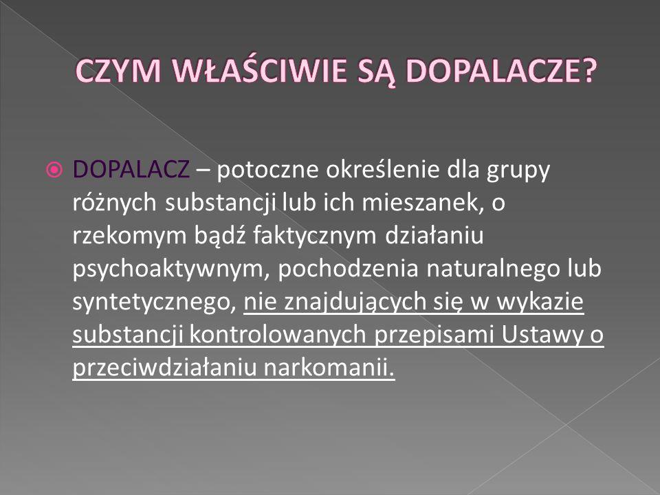  DOPALACZ – potoczne określenie dla grupy różnych substancji lub ich mieszanek, o rzekomym bądź faktycznym działaniu psychoaktywnym, pochodzenia natu
