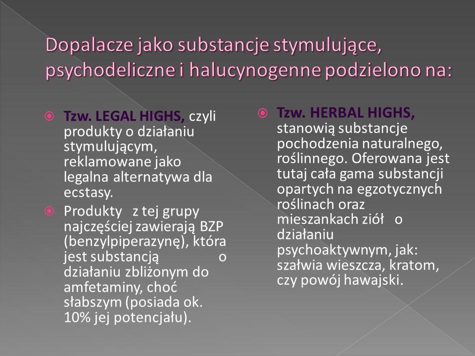  Tzw. LEGAL HIGHS, czyli produkty o działaniu stymulującym, reklamowane jako legalna alternatywa dla ecstasy.  Produkty z tej grupy najczęściej zawi