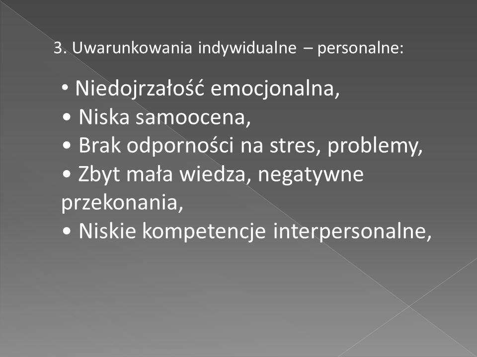 3. Uwarunkowania indywidualne – personalne: Niedojrzałość emocjonalna, Niska samoocena, Brak odporności na stres, problemy, Zbyt mała wiedza, negatywn