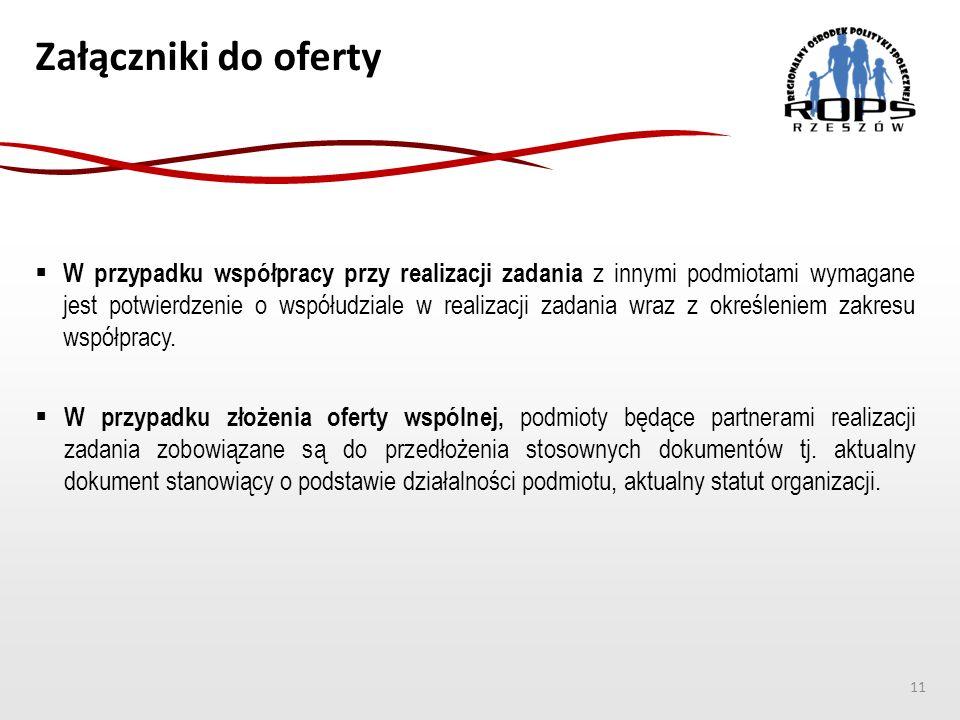 Załączniki do oferty 11  W przypadku współpracy przy realizacji zadania z innymi podmiotami wymagane jest potwierdzenie o współudziale w realizacji zadania wraz z określeniem zakresu współpracy.