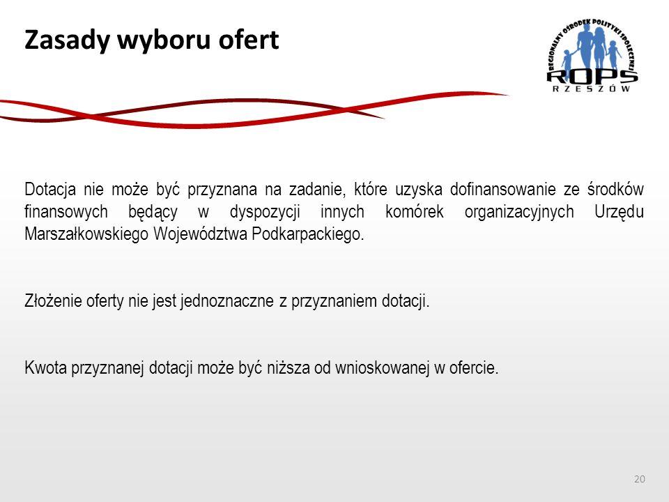Zasady wyboru ofert Dotacja nie może być przyznana na zadanie, które uzyska dofinansowanie ze środków finansowych będący w dyspozycji innych komórek organizacyjnych Urzędu Marszałkowskiego Województwa Podkarpackiego.