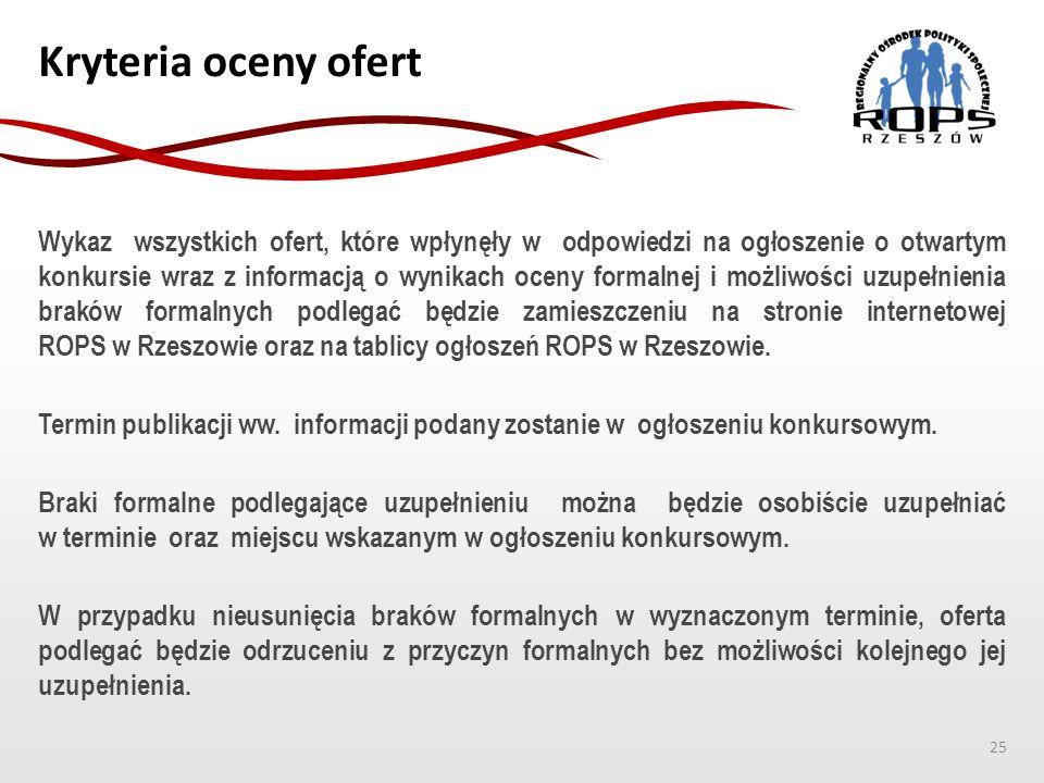 Kryteria oceny ofert Wykaz wszystkich ofert, które wpłynęły w odpowiedzi na ogłoszenie o otwartym konkursie wraz z informacją o wynikach oceny formaln
