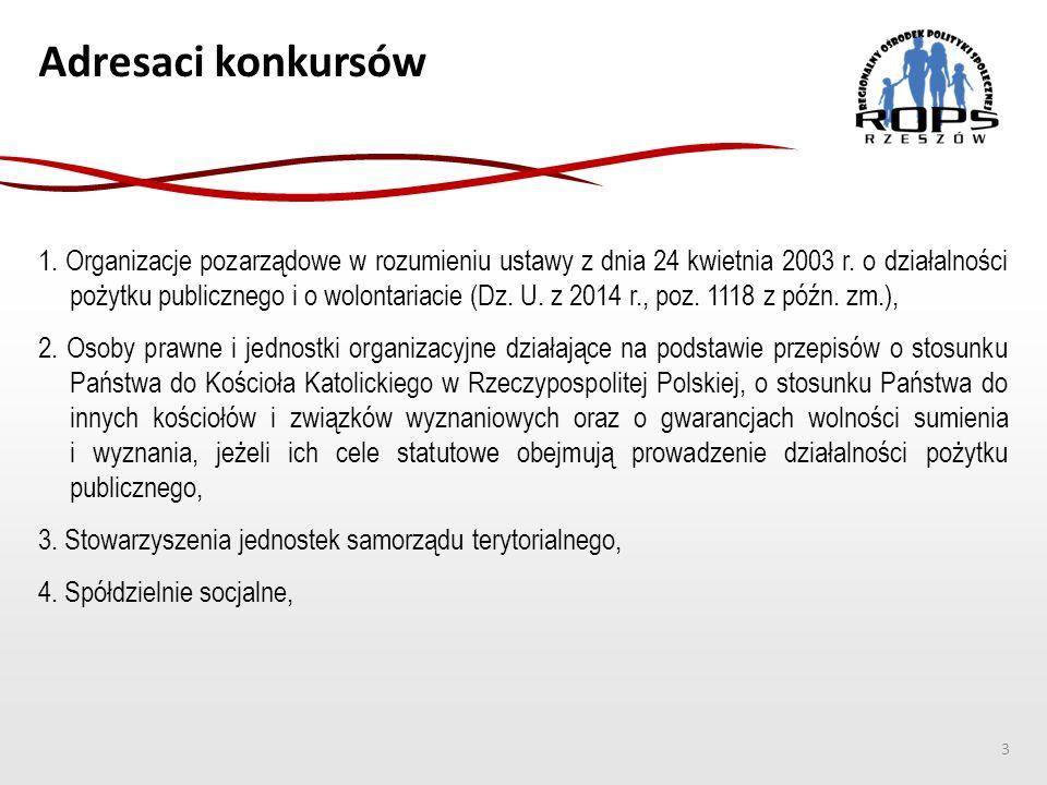 Adresaci konkursów 1. Organizacje pozarządowe w rozumieniu ustawy z dnia 24 kwietnia 2003 r. o działalności pożytku publicznego i o wolontariacie (Dz.
