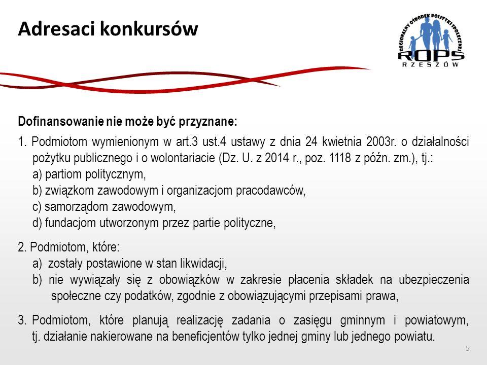 Adresaci konkursów Dofinansowanie nie może być przyznane: 1. Podmiotom wymienionym w art.3 ust.4 ustawy z dnia 24 kwietnia 2003r. o działalności pożyt