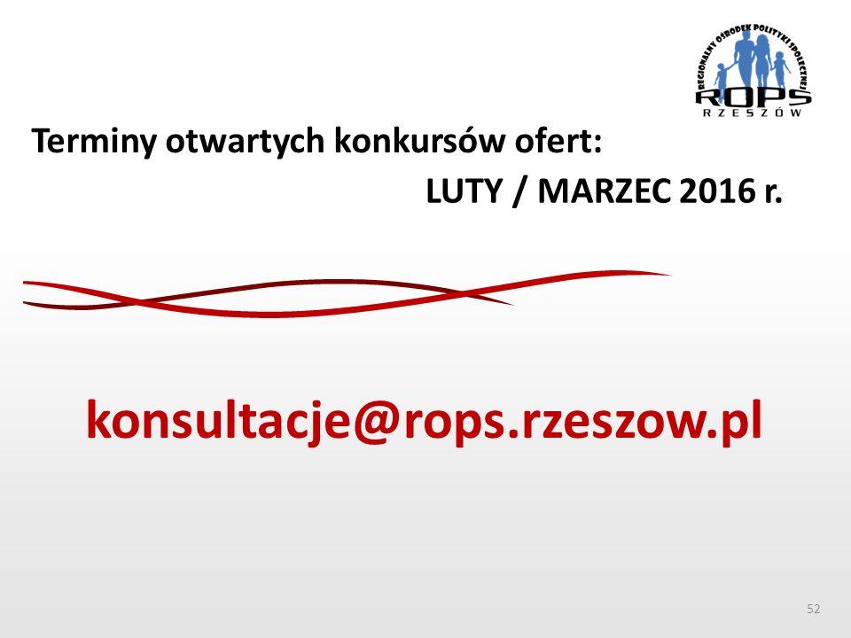 Terminy otwartych konkursów ofert: LUTY / MARZEC 2016 r. 52 konsultacje@rops.rzeszow.pl