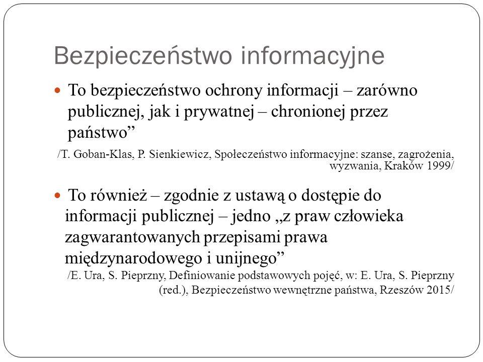 """Bezpieczeństwo informacyjne To bezpieczeństwo ochrony informacji – zarówno publicznej, jak i prywatnej – chronionej przez państwo"""" /T. Goban-Klas, P."""