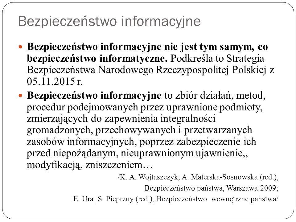 """Regulacje dotyczące bezpieczeństwa informacyjnego Ustawa z 29.08.1997 o ochronie danych osobowych – """"każdy ma prawo do ochrony dotyczących go danych osobowych, a ich przetwarzanie jest dopuszczalne [wyłącznie] """"ze względu na dobro publiczne, dobro osoby, której dane dotyczą, lub dobro osób trzecich w zakresie i trybie określonym ustawą /Ten i kolejne fragmenty przytoczone, sformułowane w oparciu o: W."""