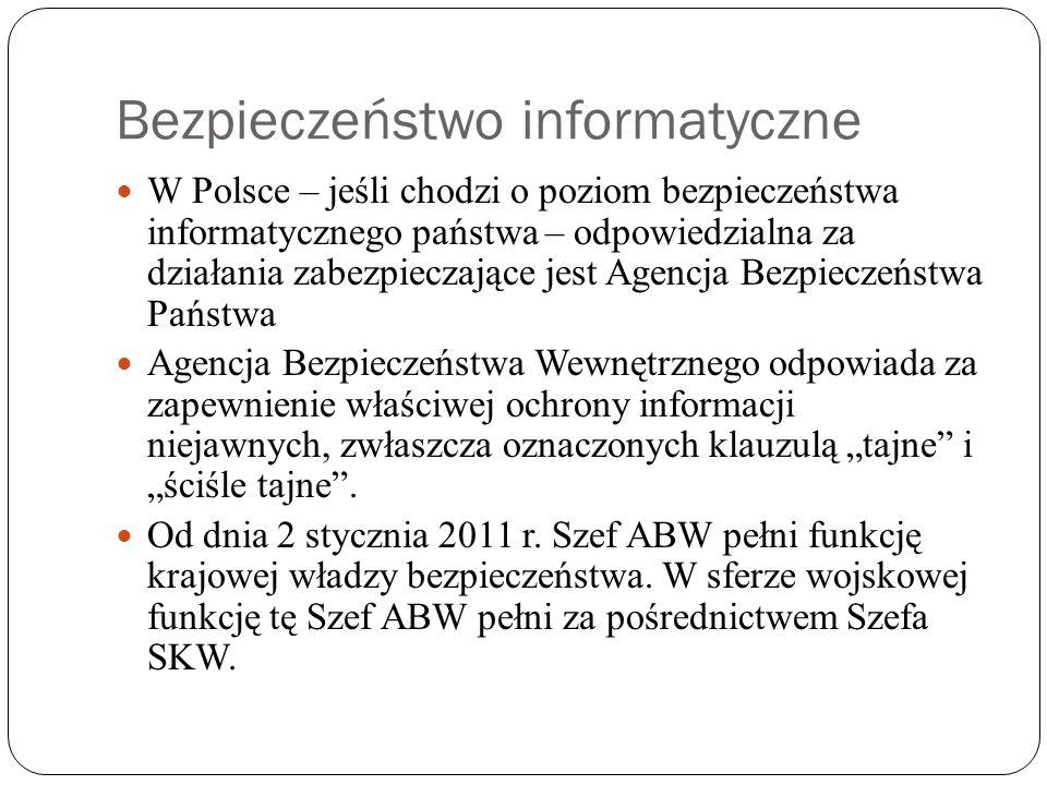 """Bezpieczeństwo informatyczne W Polsce – jeśli chodzi o poziom bezpieczeństwa informatycznego państwa – odpowiedzialna za działania zabezpieczające jest Agencja Bezpieczeństwa Państwa Agencja Bezpieczeństwa Wewnętrznego odpowiada za zapewnienie właściwej ochrony informacji niejawnych, zwłaszcza oznaczonych klauzulą """"tajne i """"ściśle tajne ."""