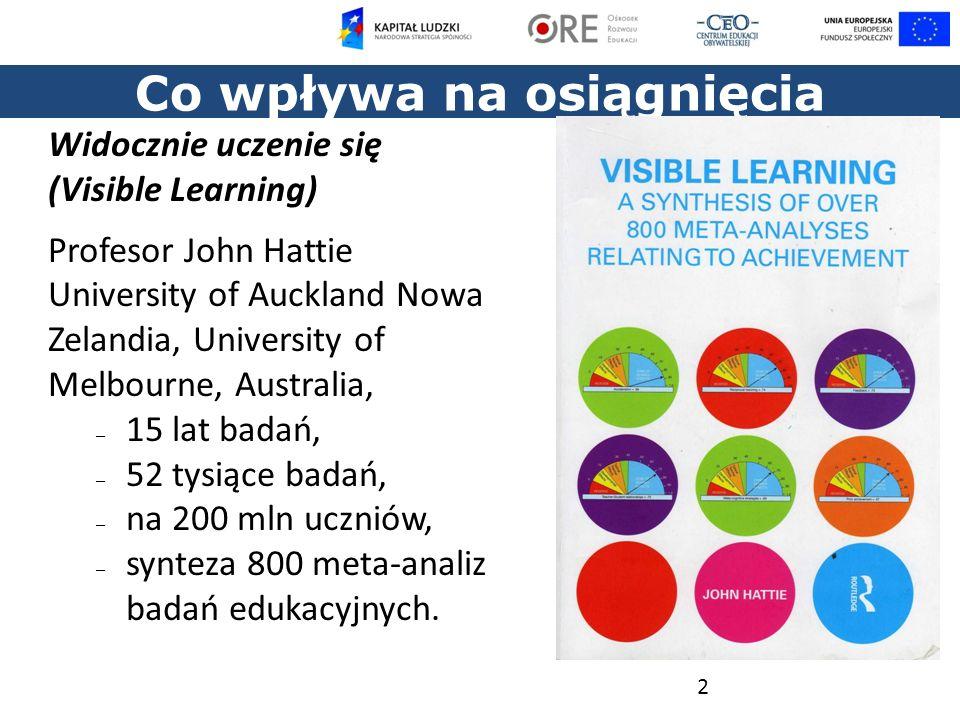 Co wpływa na osiągnięcia uczniów? 2 Widocznie uczenie się (Visible Learning) Profesor John Hattie University of Auckland Nowa Zelandia, University of