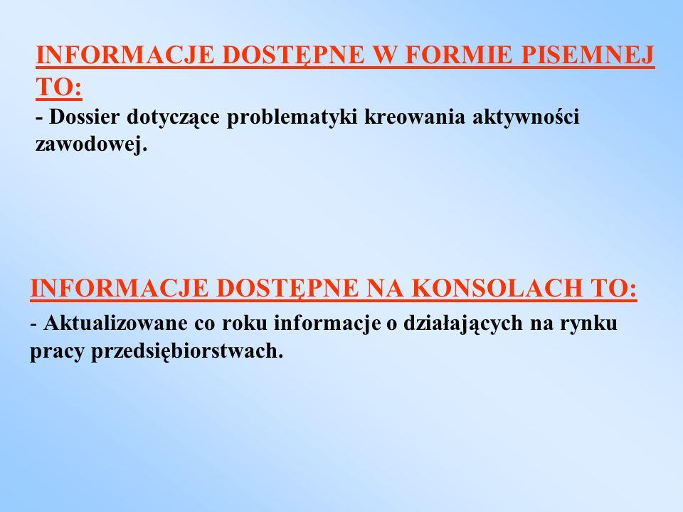 INFORMACJE DOSTĘPNE W FORMIE PISEMNEJ TO: - Dossier dotyczące problematyki kreowania aktywności zawodowej. INFORMACJE DOSTĘPNE NA KONSOLACH TO: - Aktu