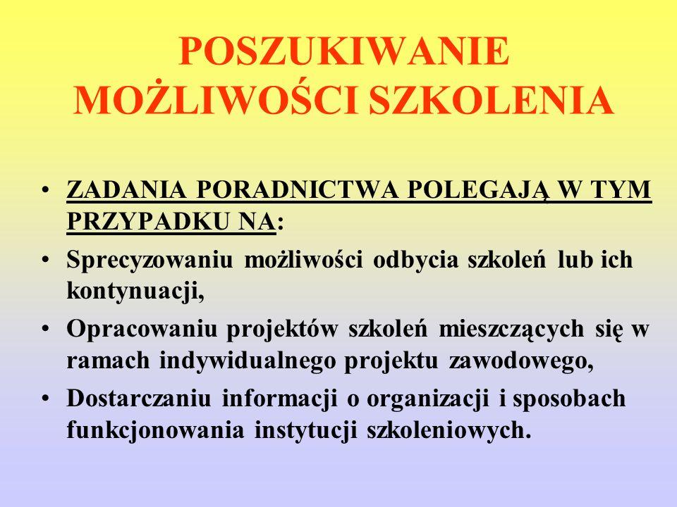 INFORMACJE DOSTĘPNE W FORMIE PISEMNEJ TO: - Informacje o możliwościach odbycia i kontynuowania szkoleń adresowane do osób poszukujących pracy (katalogi).