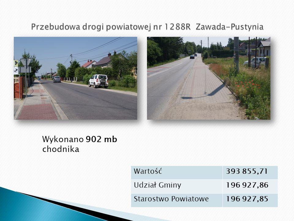 Wykonano 902 mb chodnika Wartość393 855,71 Udział Gminy196 927,86 Starostwo Powiatowe196 927,85