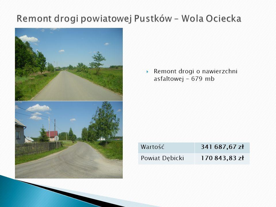  Remont drogi o nawierzchni asfaltowej - 679 mb Wartość341 687,67 zł Powiat Dębicki170 843,83 zł