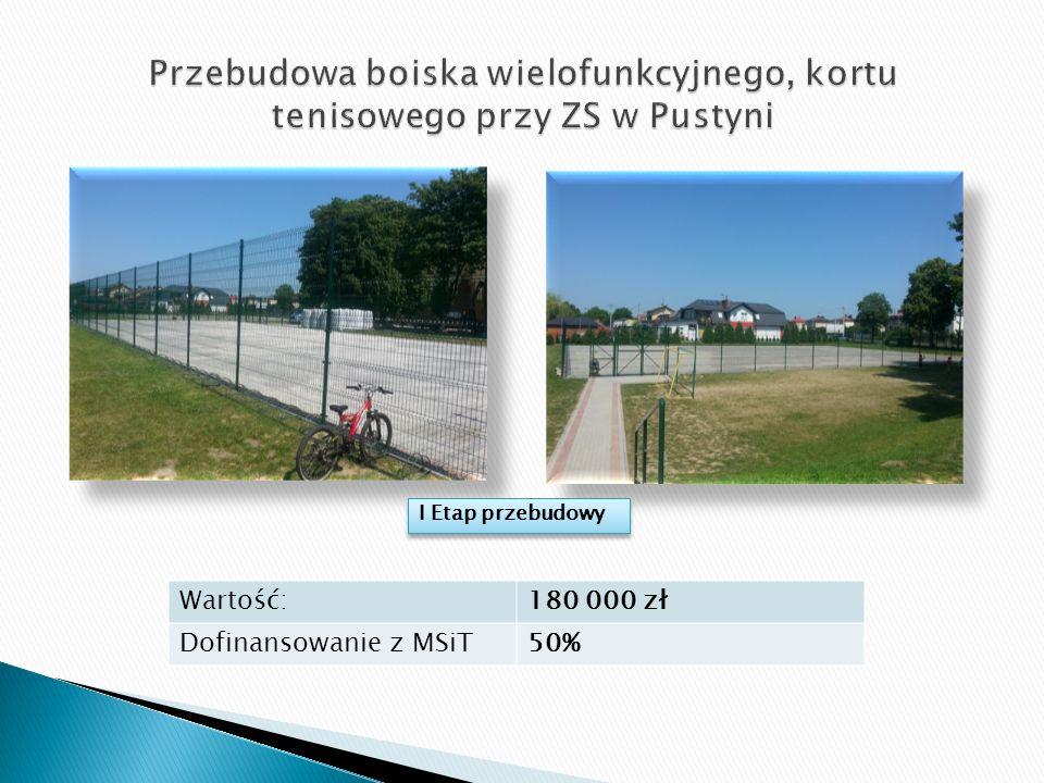 Wartość:180 000 zł Dofinansowanie z MSiT50% I Etap przebudowy