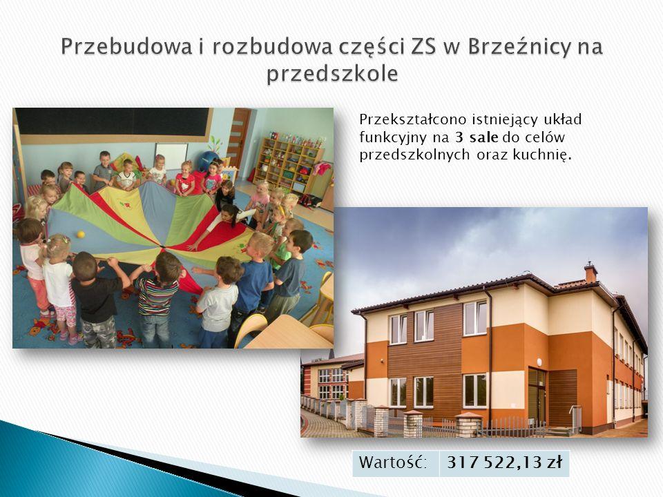 Wartość:317 522,13 zł Przekształcono istniejący układ funkcyjny na 3 sale do celów przedszkolnych oraz kuchnię.