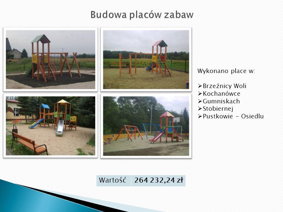 Wartość264 232,24 zł Wykonano place w:  Brzeźnicy Woli  Kochanówce  Gumniskach  Stobiernej  Pustkowie - Osiedlu