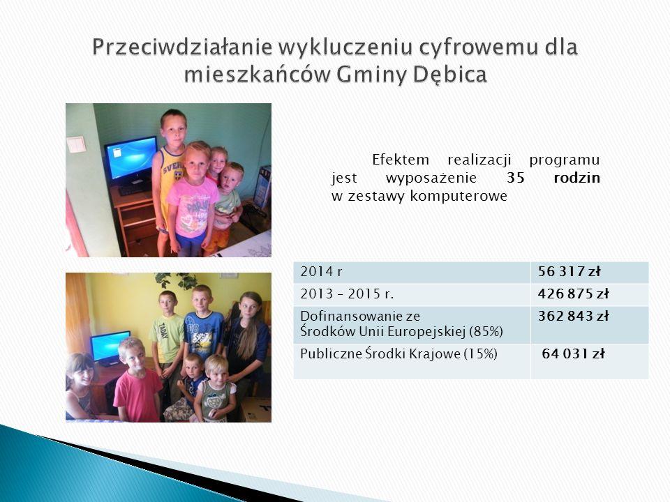 Efektem realizacji programu jest wyposażenie 35 rodzin w zestawy komputerowe 2014 r56 317 zł 2013 – 2015 r.426 875 zł Dofinansowanie ze Środków Unii Europejskiej (85%) 362 843 zł Publiczne Środki Krajowe (15%) 64 031 zł