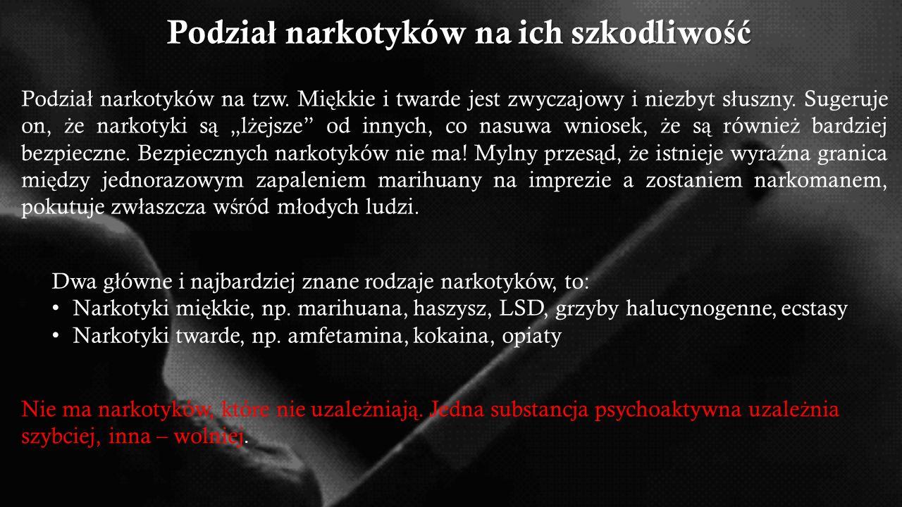  Opiaty np. heroina, morfina  Psychostymulanty np. amfetamina, metaamfetamina  Kokaina  Marihuana i haszysz  Halucynogeny np. DMT  Psychodeliki