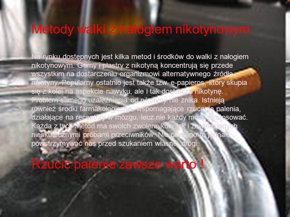 Metody walki z nałogiem nikotynowym Na rynku dostępnych jest kilka metod i środków do walki z nałogiem nikotynowym. Gumy i plastry z nikotyną koncentr