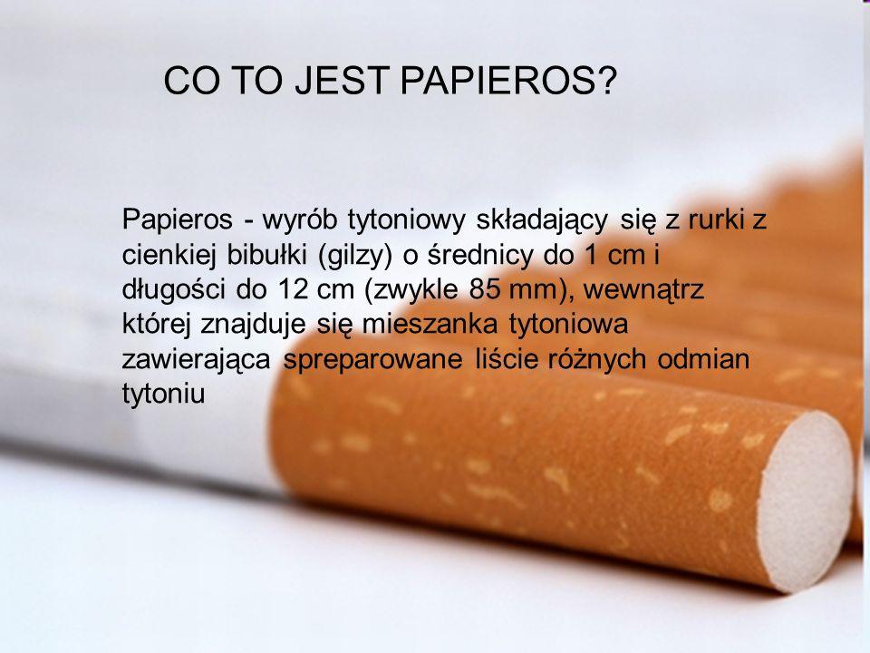 CO TO JEST PAPIEROS? Papieros - wyrób tytoniowy składający się z rurki z cienkiej bibułki (gilzy) o średnicy do 1 cm i długości do 12 cm (zwykle 85 mm