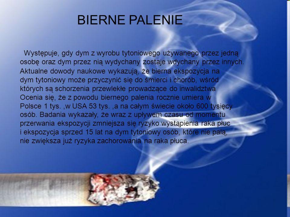 BIERNE PALENIE Występuje, gdy dym z wyrobu tytoniowego używanego przez jedną osobę oraz dym przez nią wydychany zostaje wdychany przez innych. Aktualn