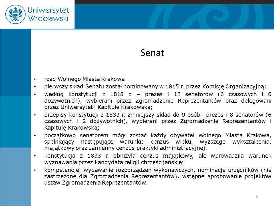 Prezes Senatu pierwszym prezesem został w 1815 r.Stanisław Wodzicki; kadencja 3 lata, od 1833 r.