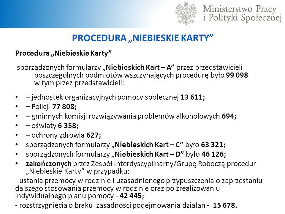 """PROCEDURA """"NIEBIESKIE KARTY Procedura """"Niebieskie Karty sporządzonych formularzy """"Niebieskich Kart – A przez przedstawicieli poszczególnych podmiotów wszczynających procedurę było 99 098 w tym przez przedstawicieli: – jednostek organizacyjnych pomocy społecznej 13 611; – Policji 77 808; – gminnych komisji rozwiązywania problemów alkoholowych 694; – oświaty 6 358; – ochrony zdrowia 627; sporządzonych formularzy """"Niebieskich Kart – C było 63 321; sporządzonych formularzy """"Niebieskich Kart – D było 46 126; zakończonych przez Zespół Interdyscyplinarny/Grupę Roboczą procedur """"Niebieskie Karty w przypadku: - ustania przemocy w rodzinie i uzasadnionego przypuszczenia o zaprzestaniu dalszego stosowania przemocy w rodzinie oraz po zrealizowaniu indywidualnego planu pomocy - 42 445; - rozstrzygnięcia o braku zasadności podejmowania działań - 15 678."""