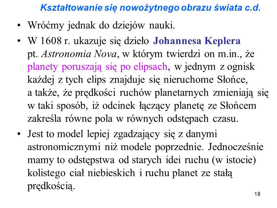 18 Kształtowanie się nowożytnego obrazu świata c.d. Wróćmy jednak do dziejów nauki. W 1608 r. ukazuje się dzieło Johannesa Keplera pt. Astronomia Nova